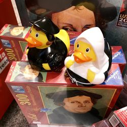 Many different Martin Luther products can be found everywhere as Germany celebrates the 500th Anniversary of the Reformation.