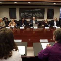 U.S. Secretary of the Interior Sally Jewell meets with the Deseret Media Companies Editorial Board in Salt Lake City, Wednesday, Aug. 5, 2015. At front left is Sarah Greenberger, senior adviser, U.S. Department of the Interior.