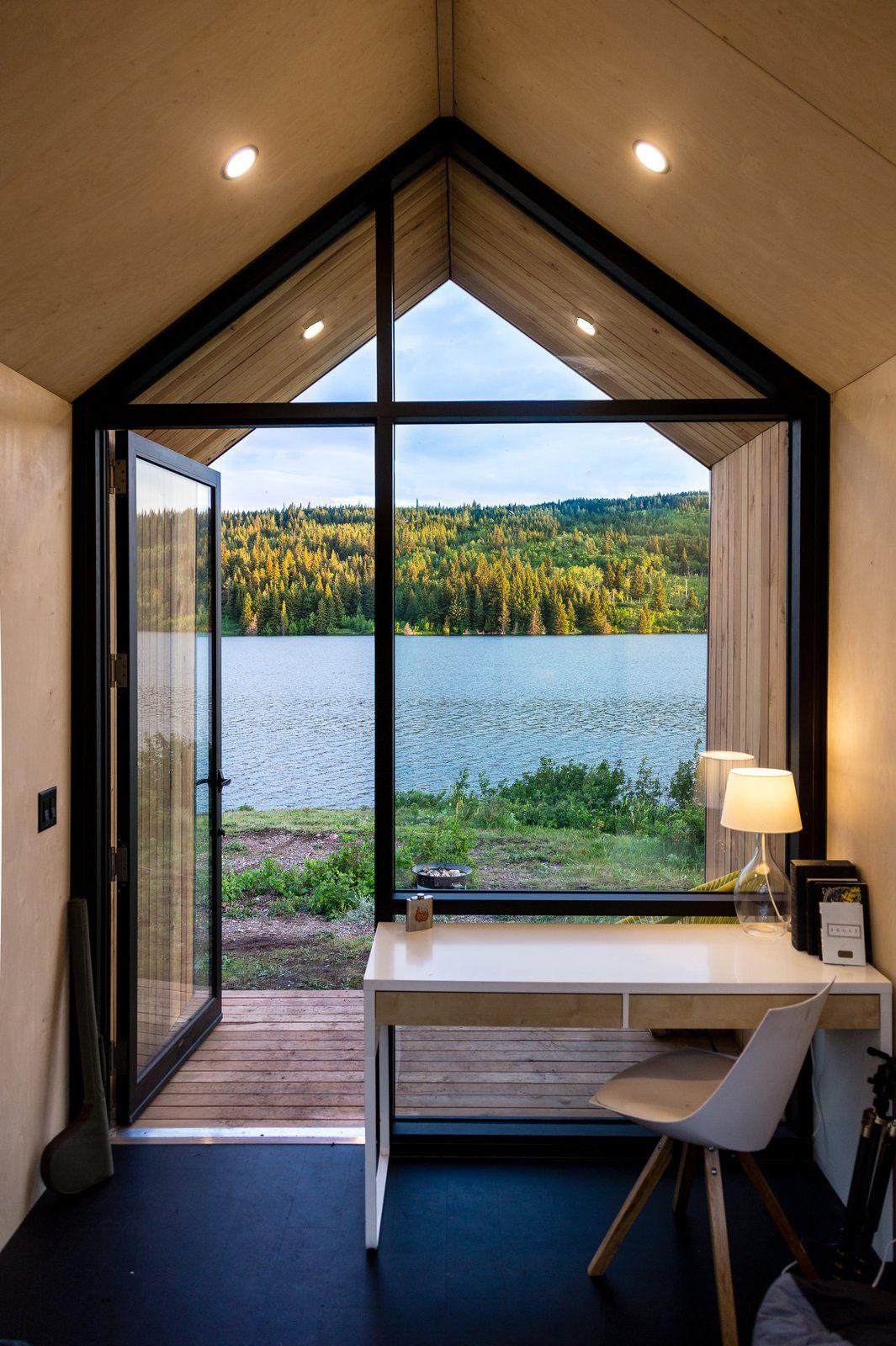 Desk next to window overlooking lake