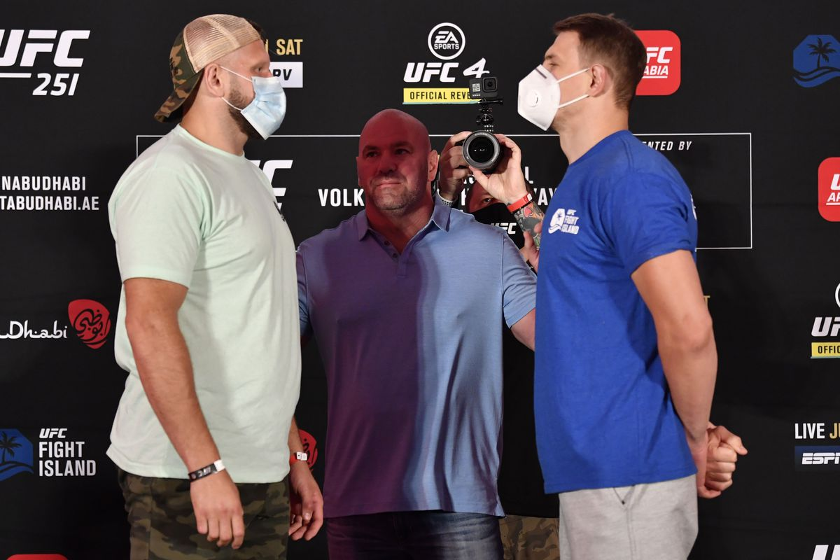 Marcin Tybura of Poland and Maxim Grishin of Russia face off during the UFC 251 official weigh-in inside Flash Forum at UFC Fight Island on July 10, 2020 on Yas Island Abu Dhabi, United Arab Emirates.