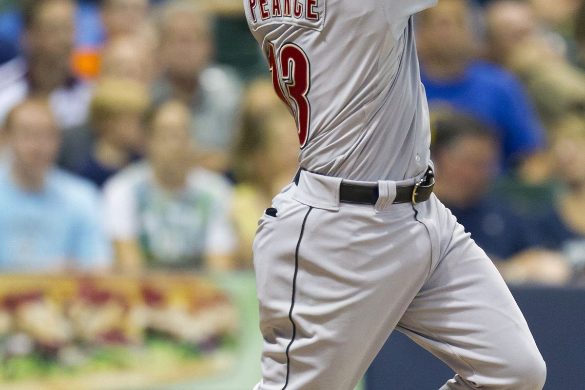 July 30, 2012: Milwaukee, WI, USA;  Houston Astros left fielder Steve Pearce (13) hits an RBI double during the eighth inning against the Milwaukee Brewers at Miller Park.  Mandatory Credit: Jeff Hanisch-US PRESSWIRE
