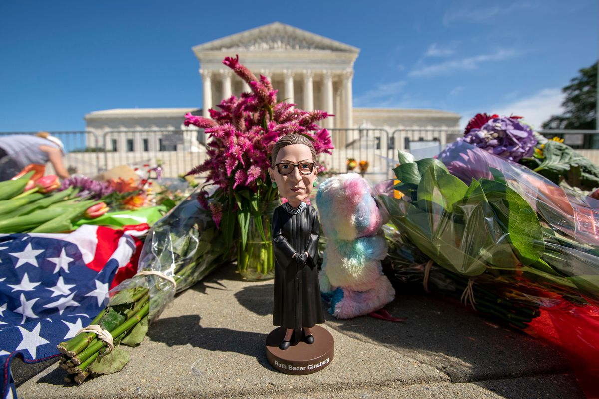A bobblehead of US Supreme Court Justice Ruth Bader Ginsburg is left outside of the US Supreme Court in Washington, DC, on September 19, 2020.