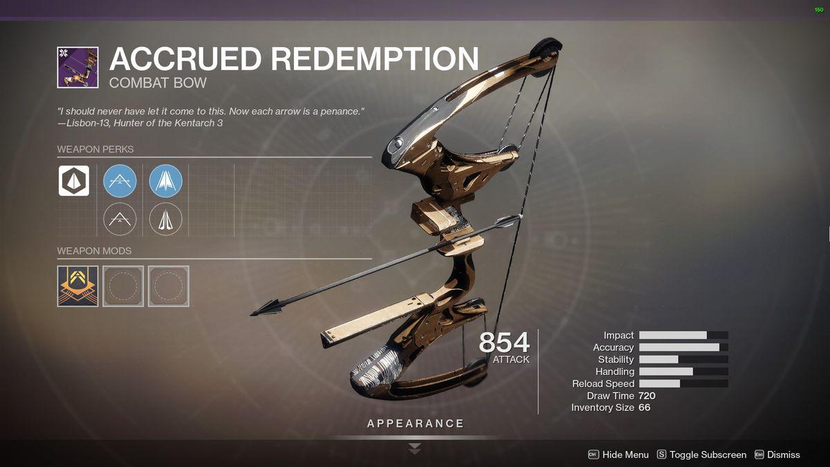 Destiny 2's Accrued Redemption Bow