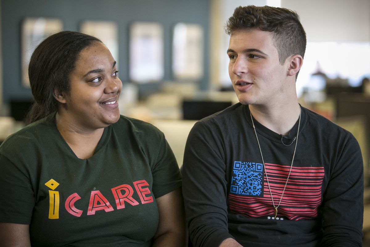Trinity Cole-Reid, left, of Auburn-Gresham and Cameron Kasky said there's a need to bring attention to the daily toll of gun violence in Chicago — in the same way the media covers one horrific act. | Rich Hein/Sun-Times