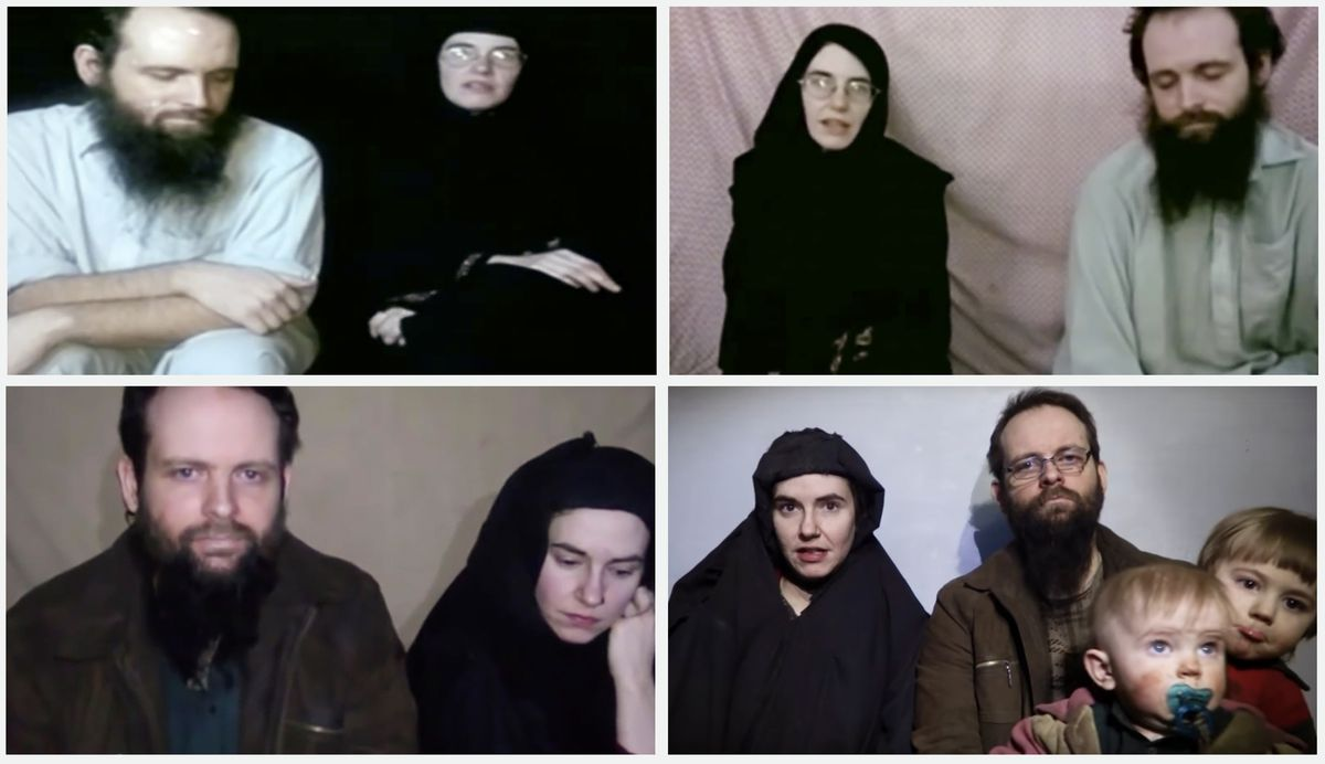 Stills from four videos of Caitlan Coleman and Joshua Boyle released by the Taliban.