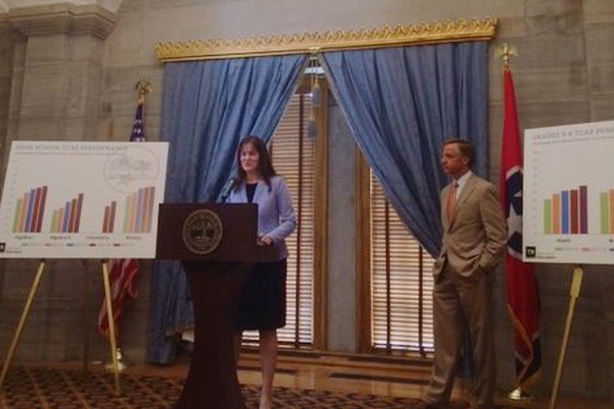Tennessee Education Commissioner Candice McQueen and Gov. Bill Haslam present statewide TCAP results for 2015 in early July. For the most part, scores went up statewide. But at individual schools, it can be hard to explain why.