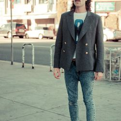 """<a href=""""http://la.racked.com/archives/2011/03/16/david_at_sierra_bonita_and_melrose.php"""" rel=""""nofollow"""">David</a>'s jeans and shoes are vintage, his t-shirt is from Urban Outfitters, his blazer is from Wasteland, and his sunglasses are Ray Bans. <br /><b"""