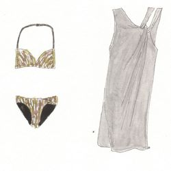 Asia halter & Ampe Bikini bottoms in avocado/black, $195 each; Ampe Tunic in charcoal, $525