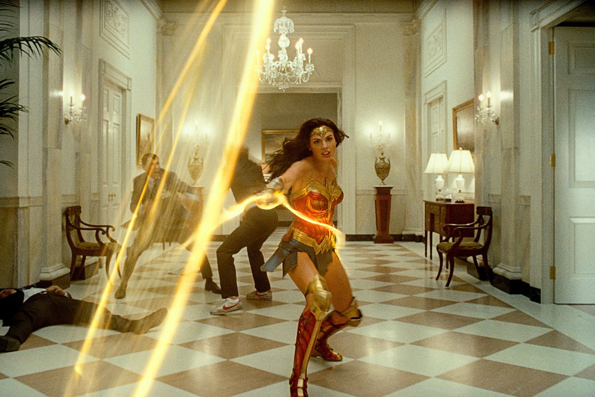 """This image released by Warner Bros. Entertainment shows Gal Gadot in a scene from """"Wonder Woman 1984."""""""