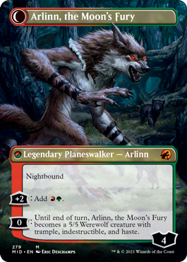 Arlinn, the Moon's Fury shows off her night bound side. She's still wearing her leather arm wraps, and the bear cub lingers in the background.