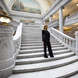 Paris Hilton poses for photos after joining Utah Gov. Spencer J. Cox, Lt. Gov. Deidre Henderson, Sen. Mike McKell and Rep. Brady Brammer for a ceremonial signing of SB127, Human Services Program Amendments, in the rotunda of the Capitol in Salt Lake City on Tuesday, April 6, 2021. SB127 increases transparency in Utah's congregate care programs.