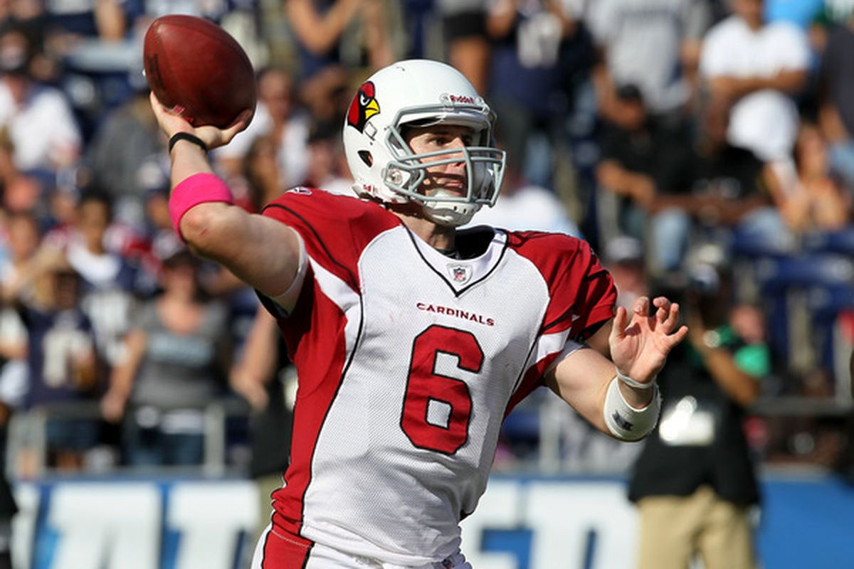 SAN DIEGO - OCTOBER 3:  Quarterback Max Hall #6 of the Arizona Cardinals throws a pass against the San Diego Chargers at Qualcomm Stadium on October 3 2010 in San Diego California.  The Chargers won 41-10.  (Photo by Stephen Dunn/Getty Images)