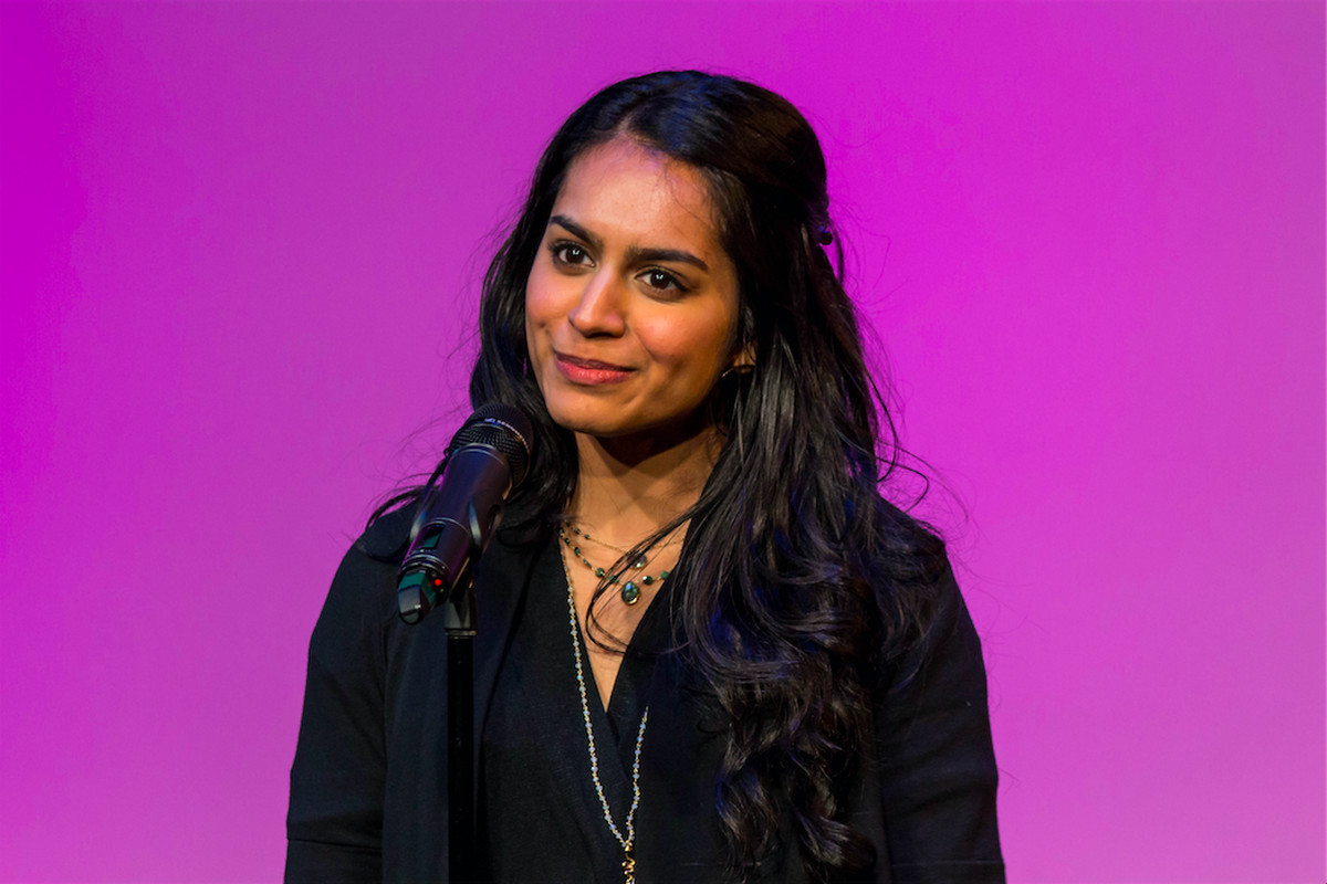 Anoopa Singh recounted why she became a chemistry teacher at an event sponsored by The Story Collider and Math for America.