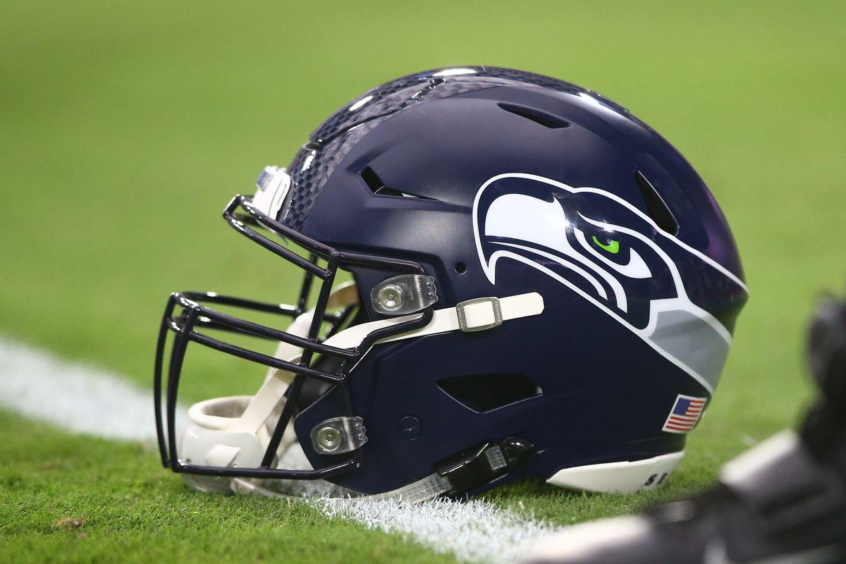 Detailed view of a Seattle Seahawks helmet against the Arizona Cardinals at State Farm Stadium.