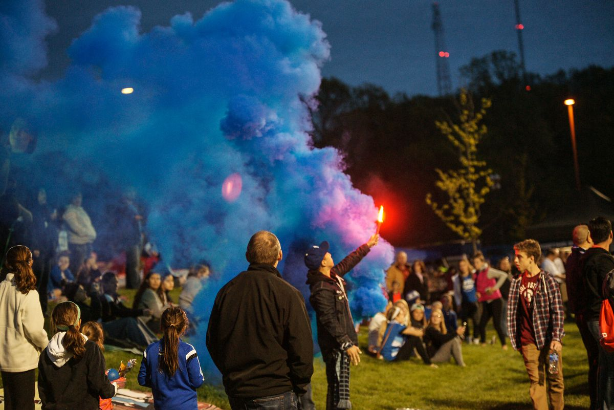 The Blue Crew set off smoke after the A-Rod goal