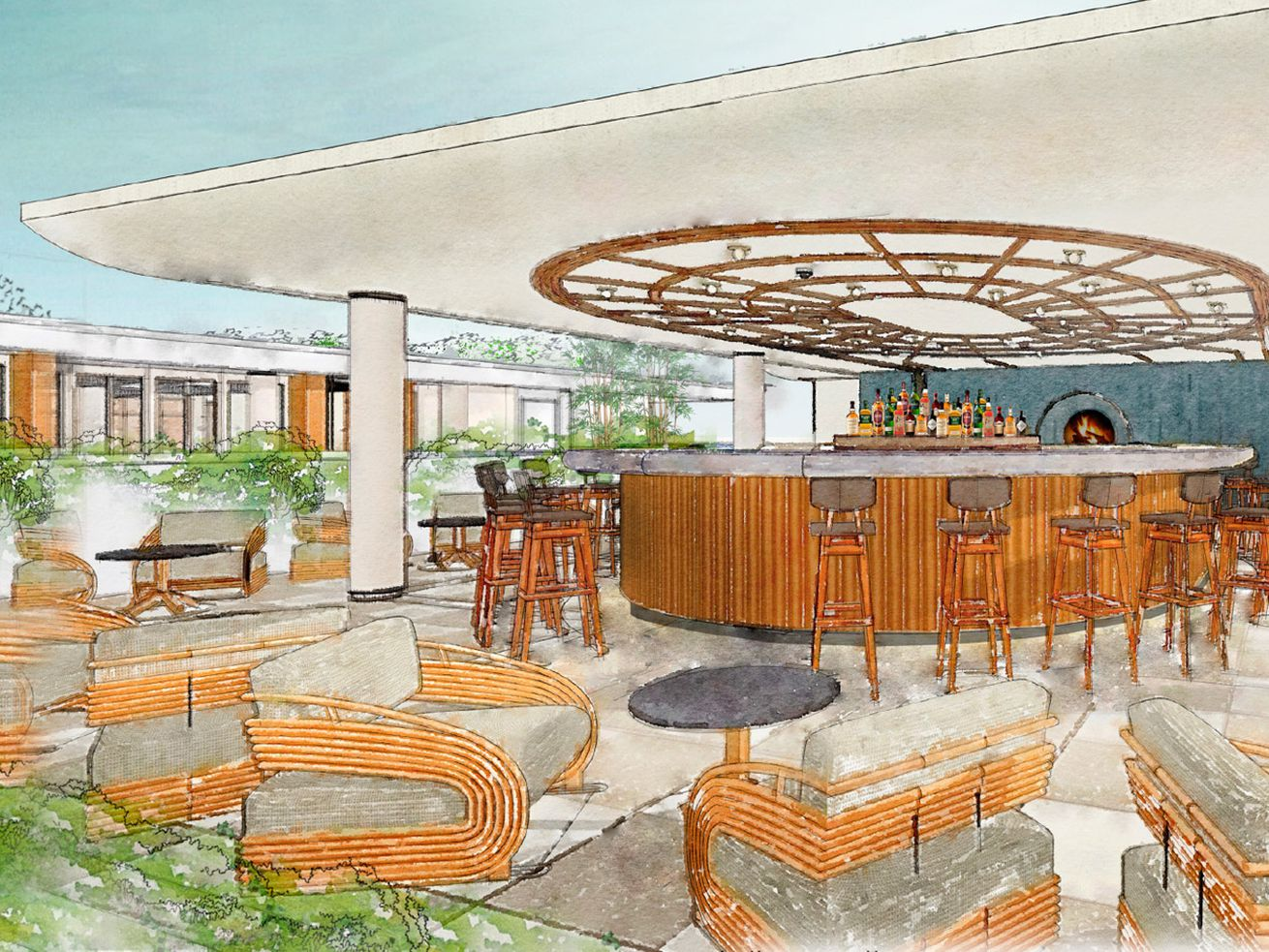 A rendering for the rooftop bar at the Proper Hotel