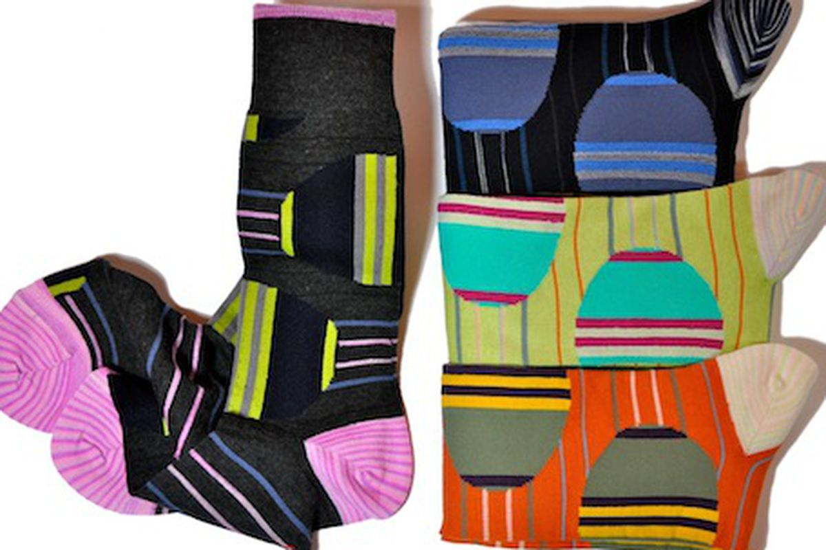 """<a href=""""http://bluesolesocks.com/shop/?product=3110260-2"""">Cotton/nylon socks</a>, $27 at Chestnut Street's Blue Sole Shoes"""