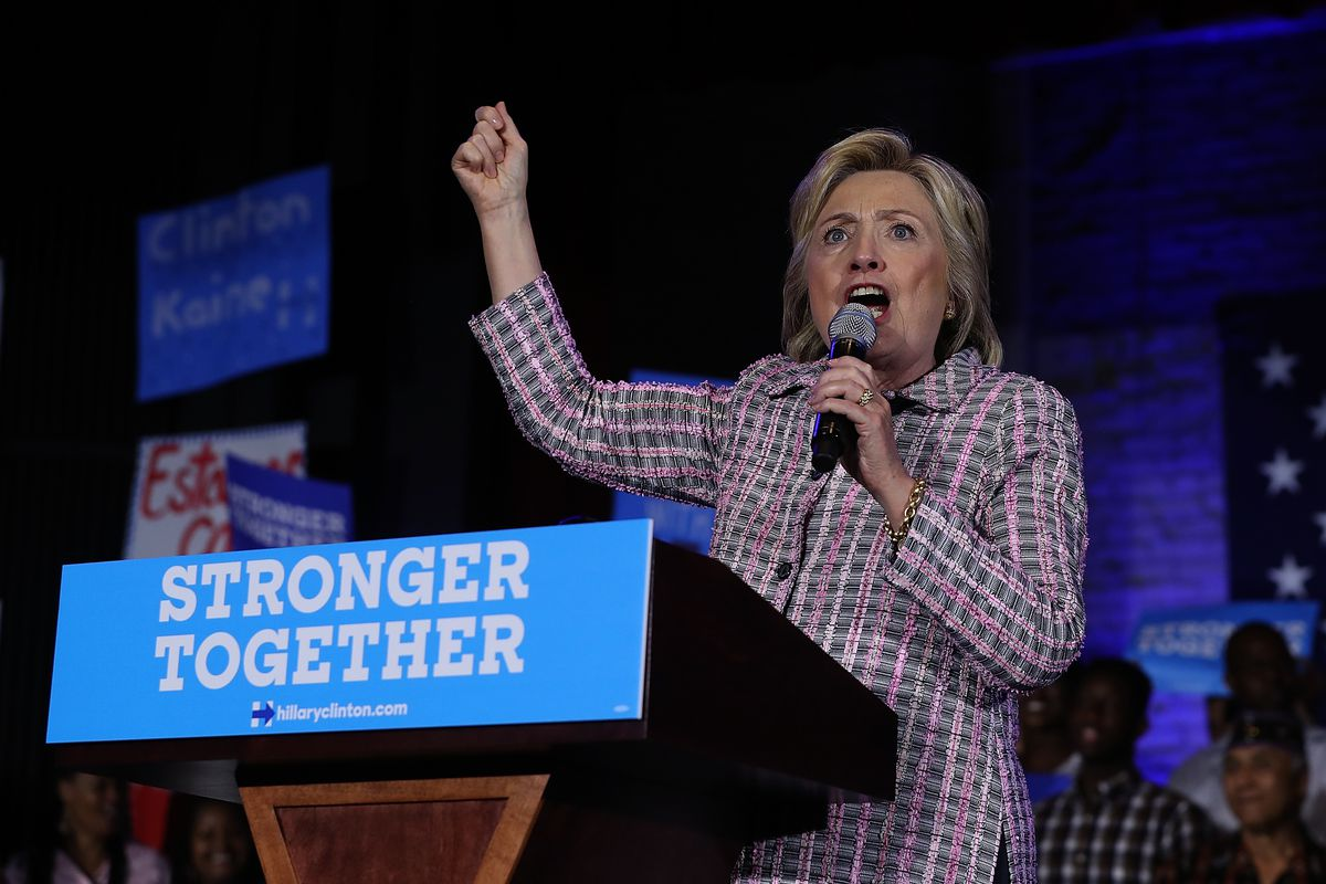 Hillary Clinton, officially the Democratic Party's nominee.