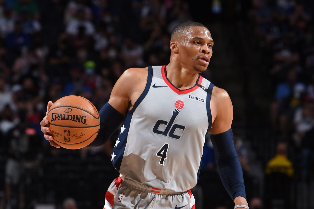 Russell Westbrook of the Washington Wizards handles the ball against the Philadelphia 76ers during Round One Game Two of the Eastern Conference Playoffs on May 26, 2021 at Wells Fargo Center in Philadelphia, Pennsylvania.