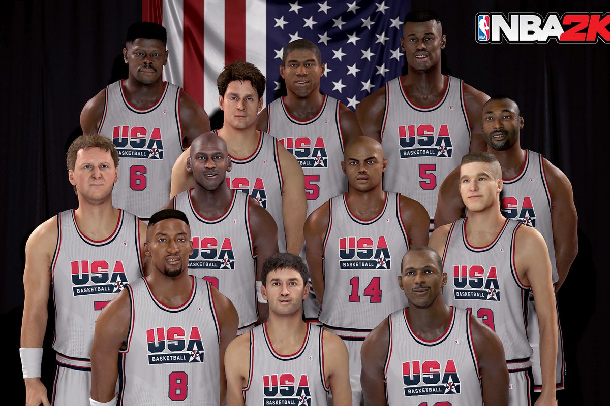 Team picture of the 1992 United States Men's Basketball Team