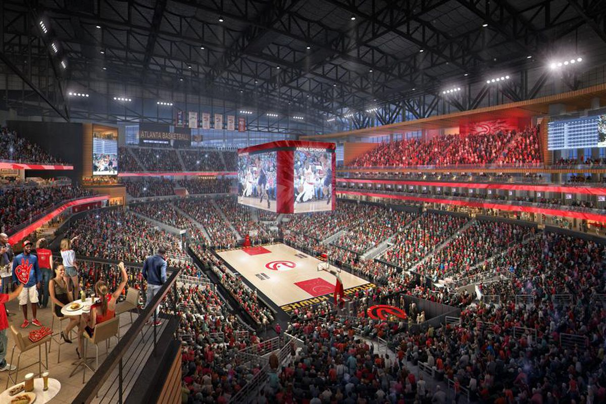 A rendering of the to-be primped concourse decked out with spiffy-looking concessions and packed with Hawks fans.