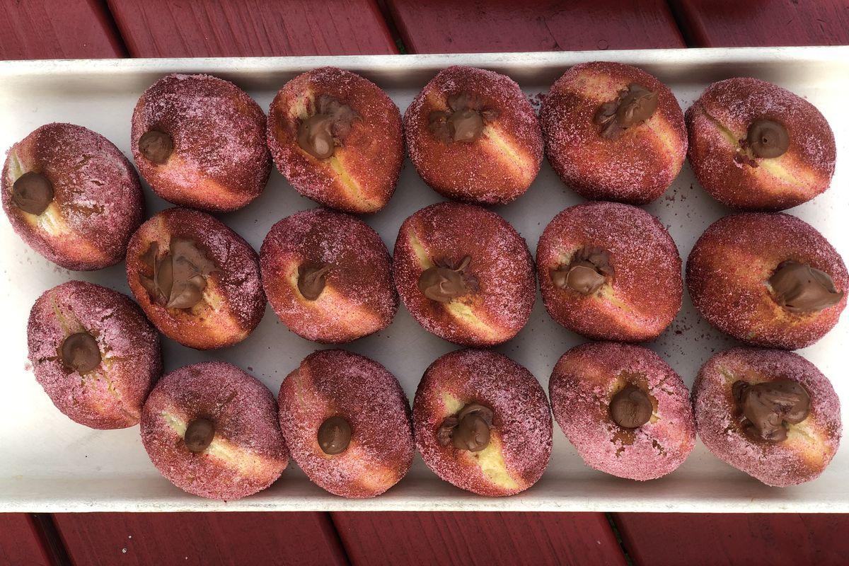 The raspberry-chocolate cream doughnut from 1235Donuts