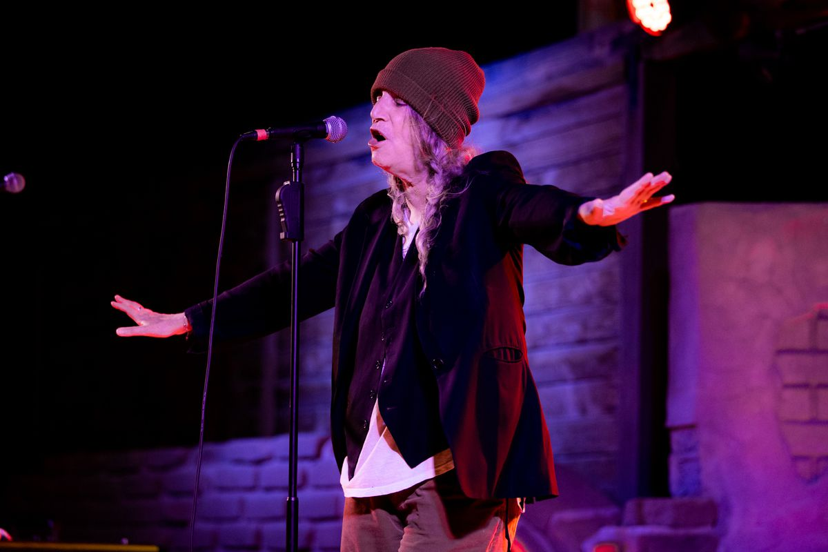 Patti Smith performs onstage at Pappy & Harriet's last month in Pioneertown, California. She headlines Riot Fest on Thursday night.