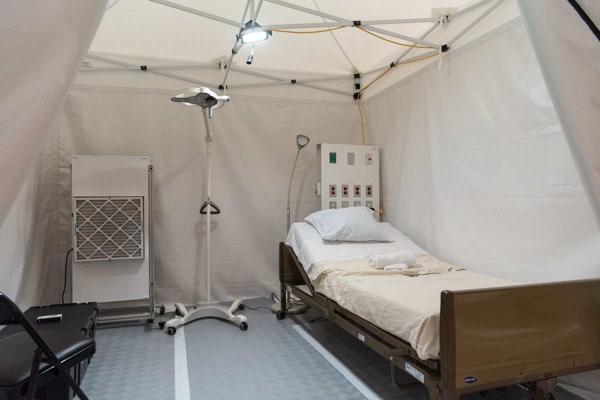 A patient room at the COVID-19 alternate care facility in Hall C at McCormick Place in Chicago, Friday, April 17, 2020.