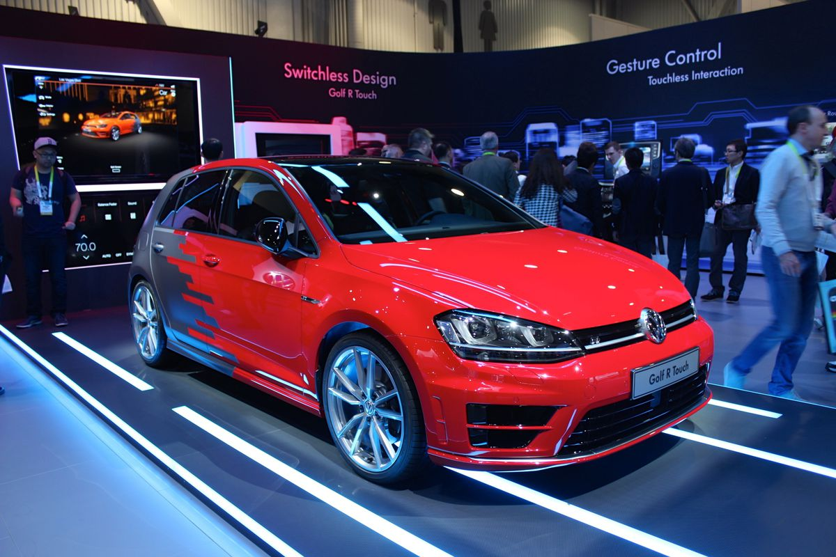 Volkswagen showed off a concept Golf R Touch with a gesture-controlled in-dash system and autonomous parking technology.