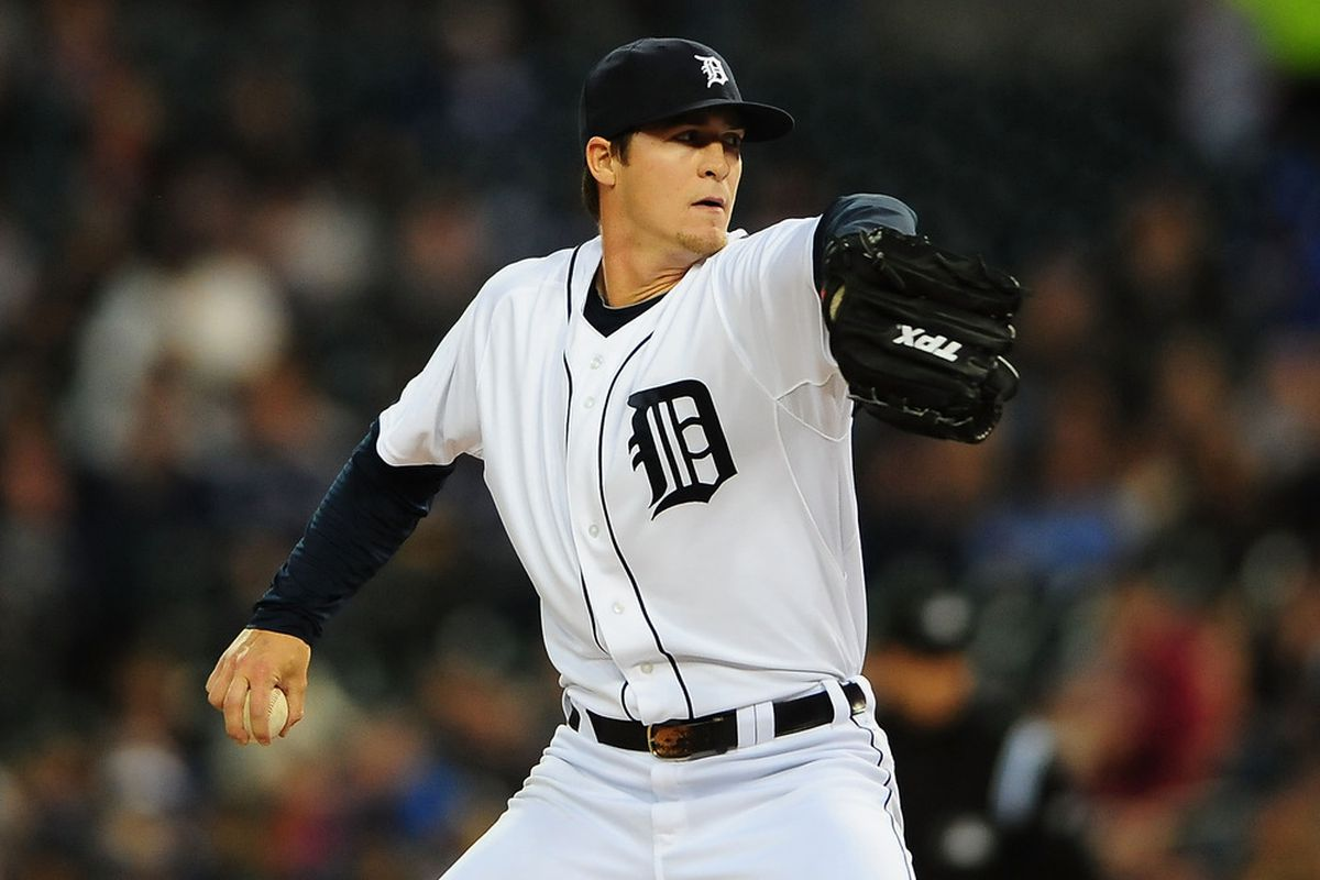 April 25, 2012; Detroit, MI, USA; Detroit Tigers relief pitcher Thad Weber (54) pitches in the fifth inning against the Seattle Mariners at Comerica Park. Mandatory Credit: Andrew Weber-US PRESSWIRE