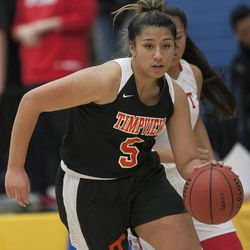Timpview's Shalyn Fano takes the ball down the court during East's 68-48 victory against Timpview in the Class 5A state championship game at Salt Lake Community College in Taylorsville on Saturday, Feb. 24, 2018.