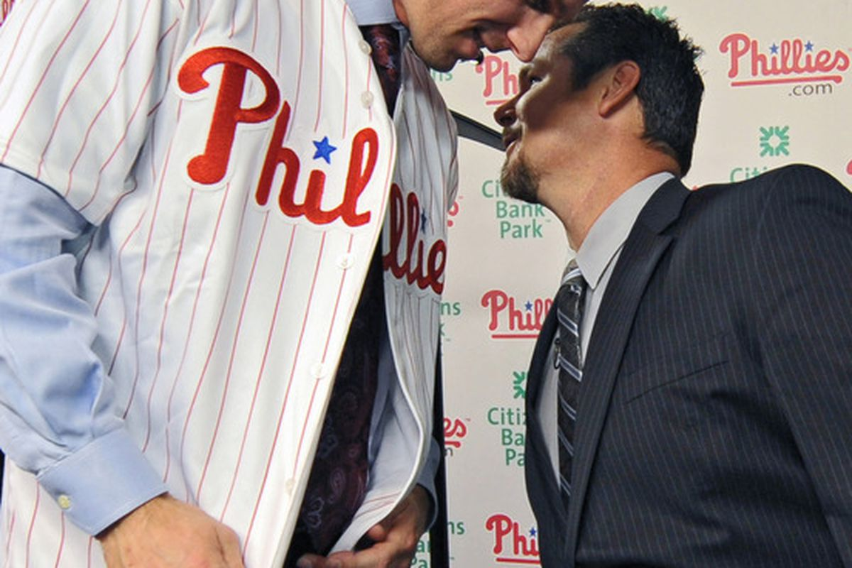 """""""Hey, Cliff, I'm really looking forward to seeing what those smart, handsome cats over at The Good Phight have to say in the Maple Street Press 2011 Phillies Annual.""""  (Photo by Drew Hallowell/Getty Images)"""