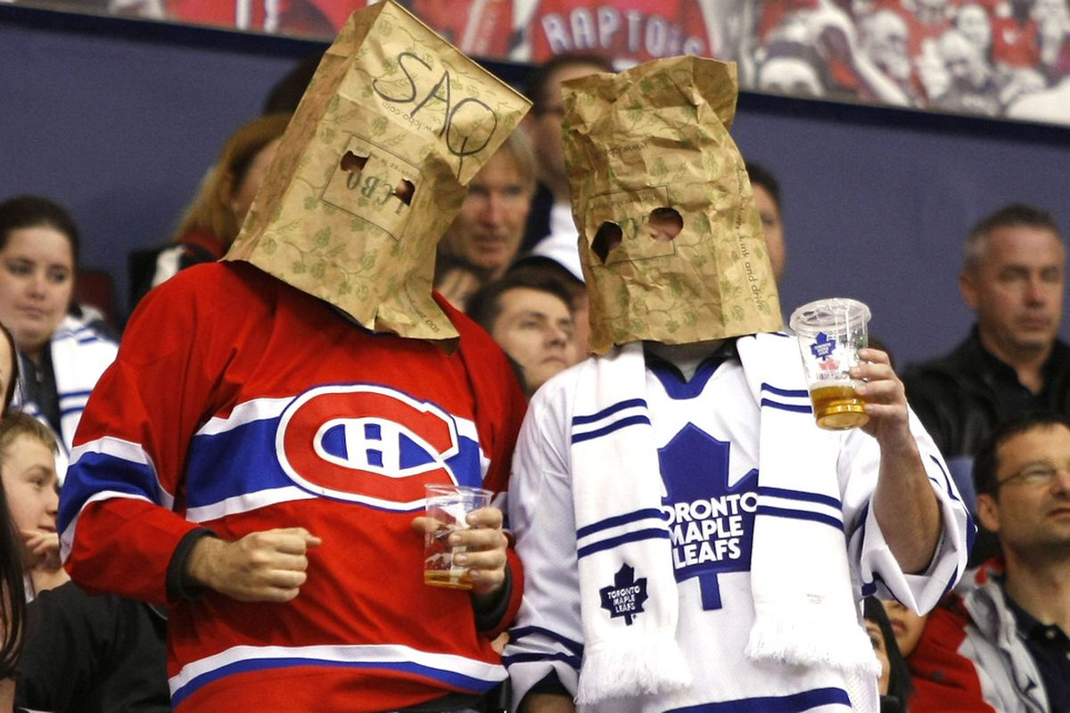 March 29, 2012; Toronto, ON, CANADA;  A Montreal Canadiens  and Toronto Maple Leafs fan during a game against the Philadelphia Flyers at the Air Canada Centre. Philadelphia defeated Toronto 7-1. Mandatory Credit: John E. Sokolowski-US PRESSWIRE