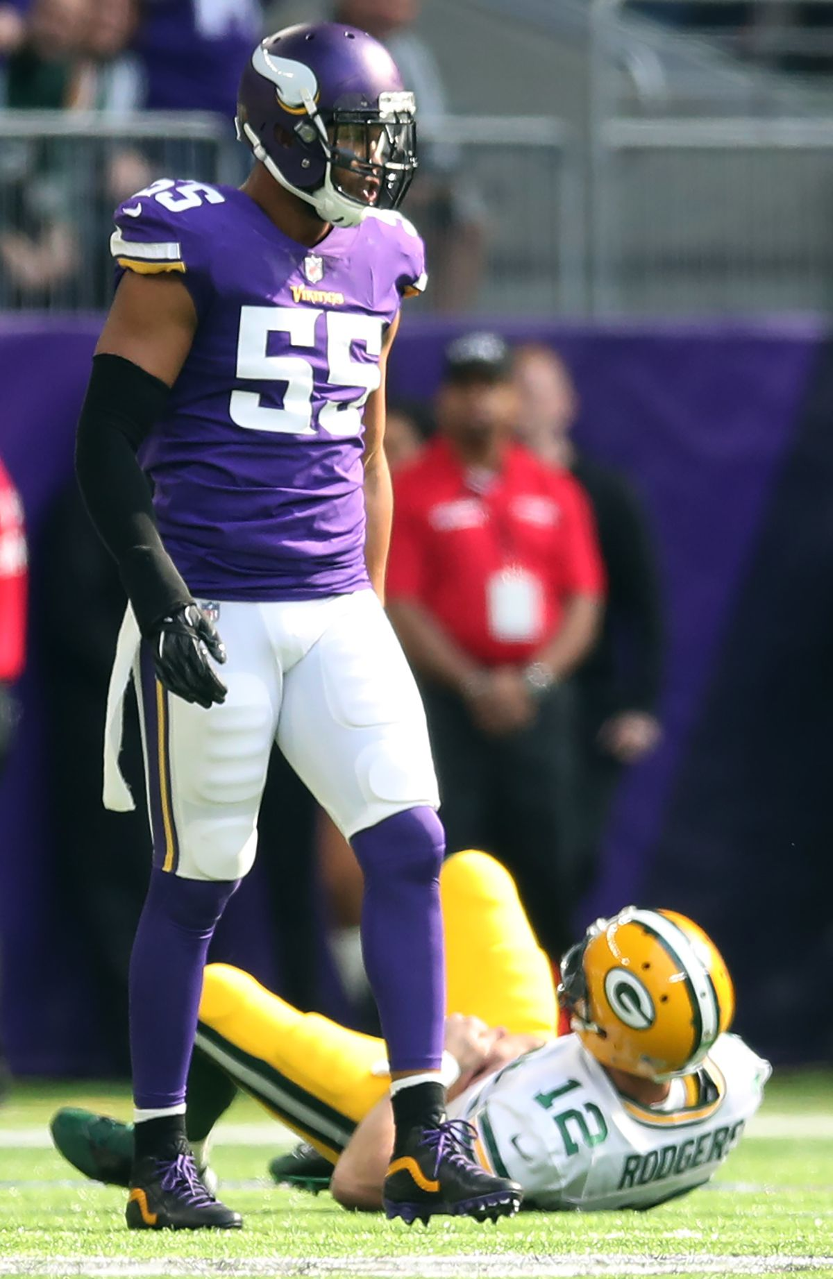Minnesota Vikings outside linebacker Anthony Barr (55) waked away from Green Bay Packers quarterback Aaron Rodgers (12) after he tackled him in the first quarter at U.S Bank Stadium Sunday October 15,2017 in Minneapolis, MN. ] JERRY HOLT • jerry.holt