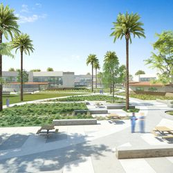 An artist's rendering of the Las Colinas Women's Detention Facility in San Diego County, California, designed by HMC Architects. The new Utah prison will draw on some of the aesthetic concepts in this lower security, short-term facility.