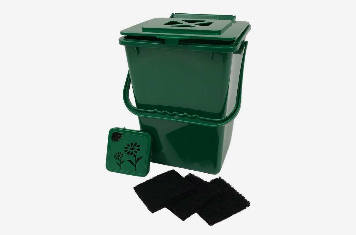 Green bin with a square-shaped lid and black-colored filters.