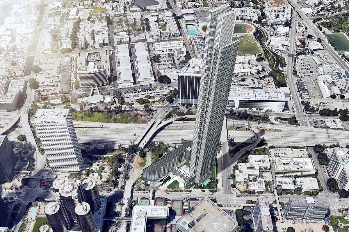At 1,107 feet tall, the tower would be seven feet taller than the Wilshire  Grand. Courtesy of DiMarzio Kato Architecture