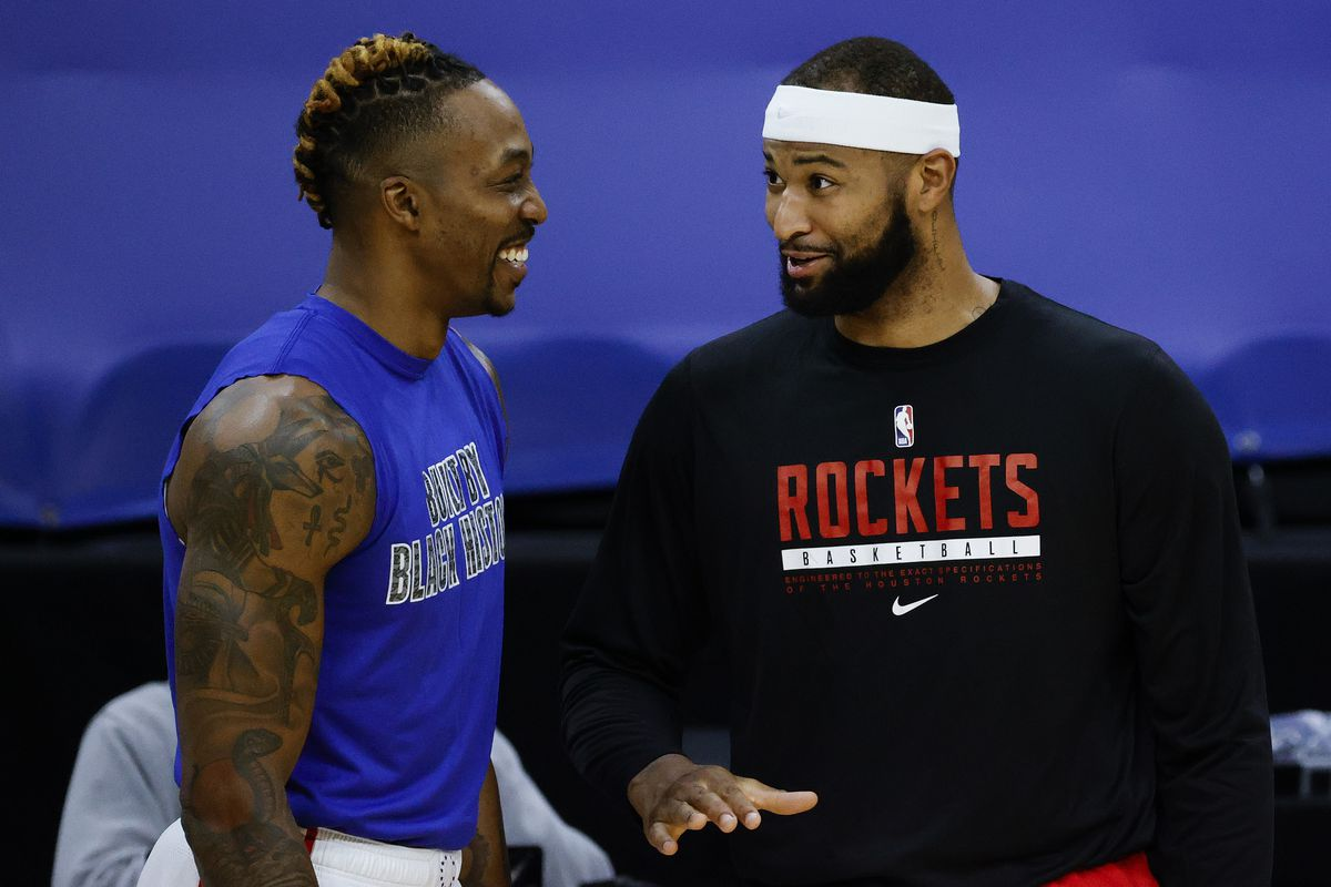 Dwight Howard of the Philadelphia 76ers and DeMarcus Cousins of the Houston Rockets speak before playing at Wells Fargo Center on February 17, 2021 in Philadelphia, Pennsylvania.
