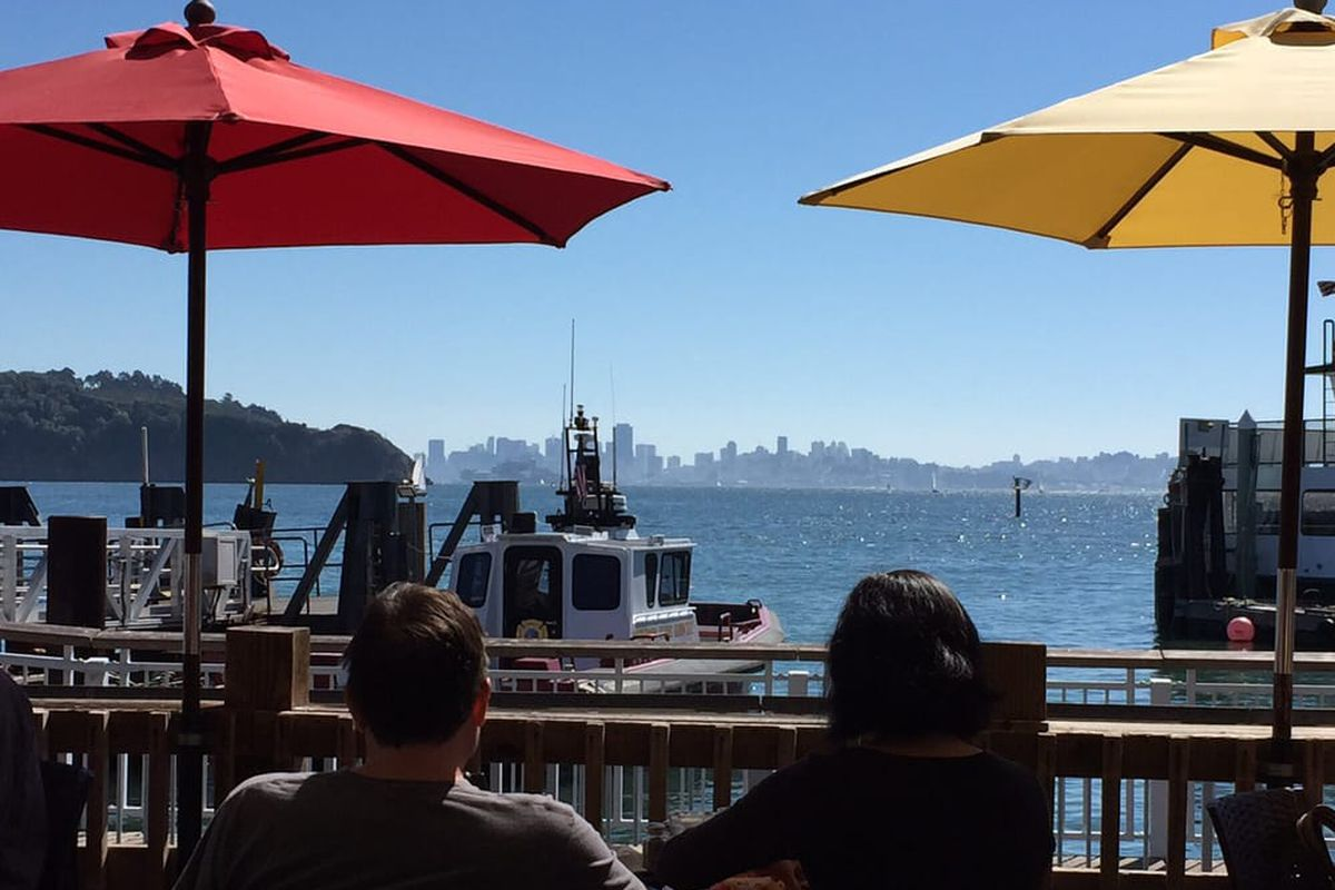 Diners look out onto the SF bay from the patio of Guaymas in Tiburon
