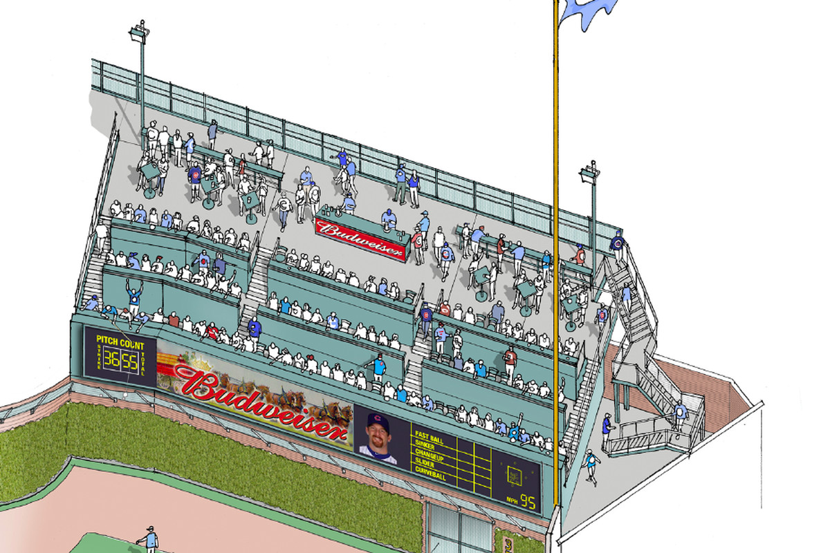 Rendering of the new party deck and video board to be installed in right field at Wrigley Field. <em>(Courtesy Chicago Cubs)</em>
