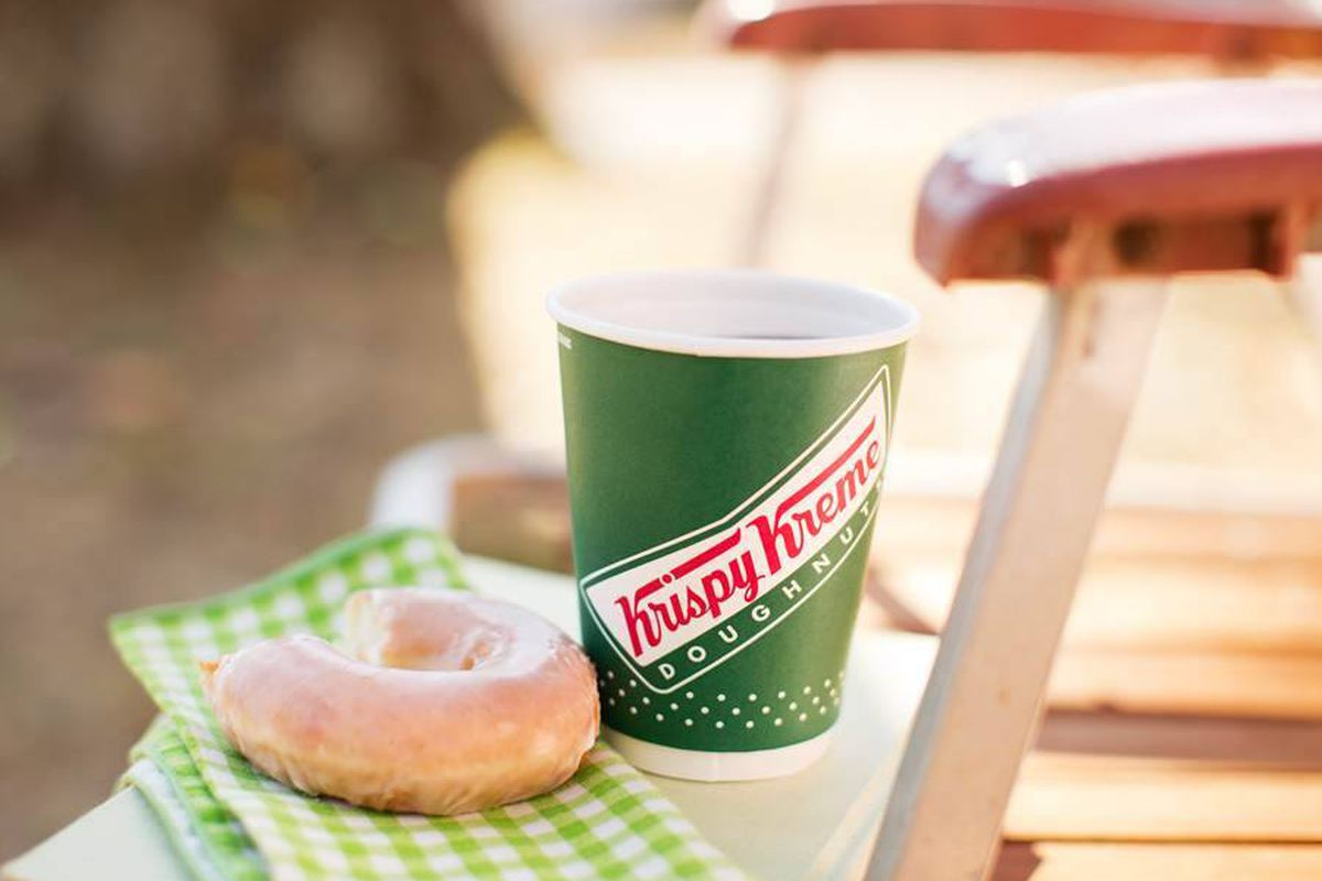Krispy Kreme is offering a free small coffee and original glazed donut all day today