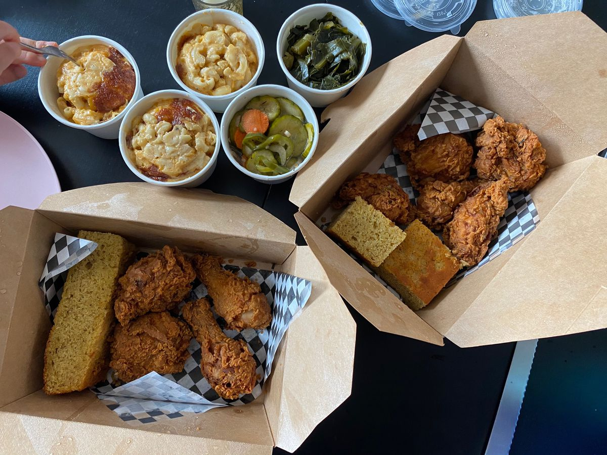 Fried chicken, cornbread, and mac and cheese to go, from Minnie Bell's