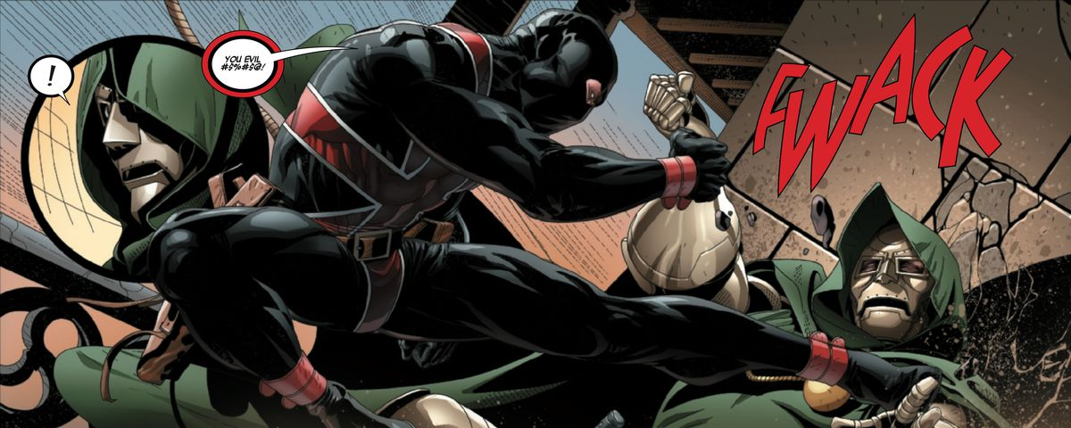 Doctor Doom is assaulted by the British superheroic agent Union Jack, in Doctor Doom #1, Marvel Comics (2019).