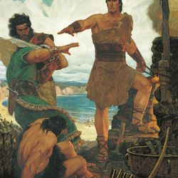 """""""Nephi Rebuking His Rebellious Brothers,"""" by Arnold Friberg."""