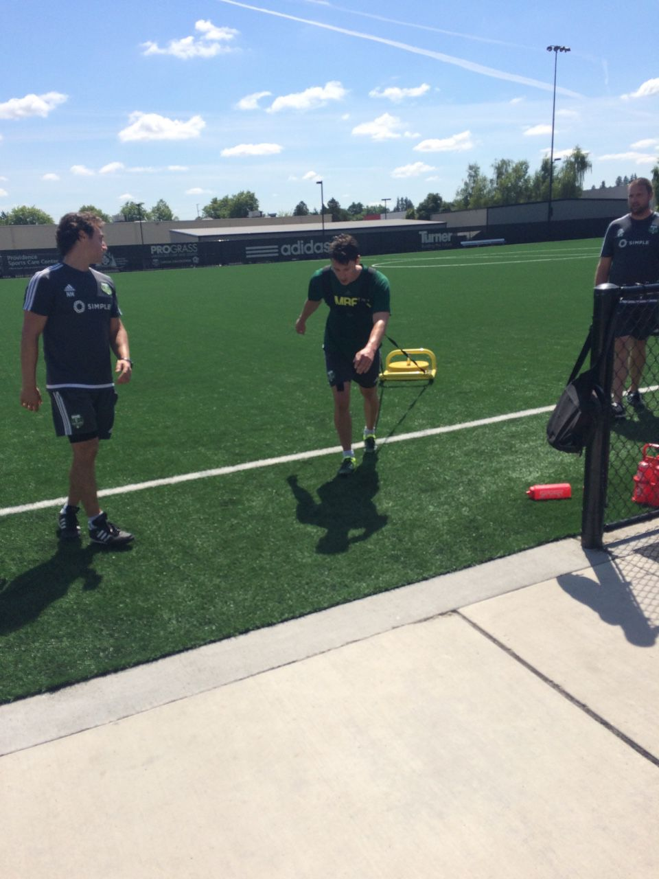 Ben Zemanski pulls a weight sled at Portland Timbers practice. Will Conwell. 7/15/15