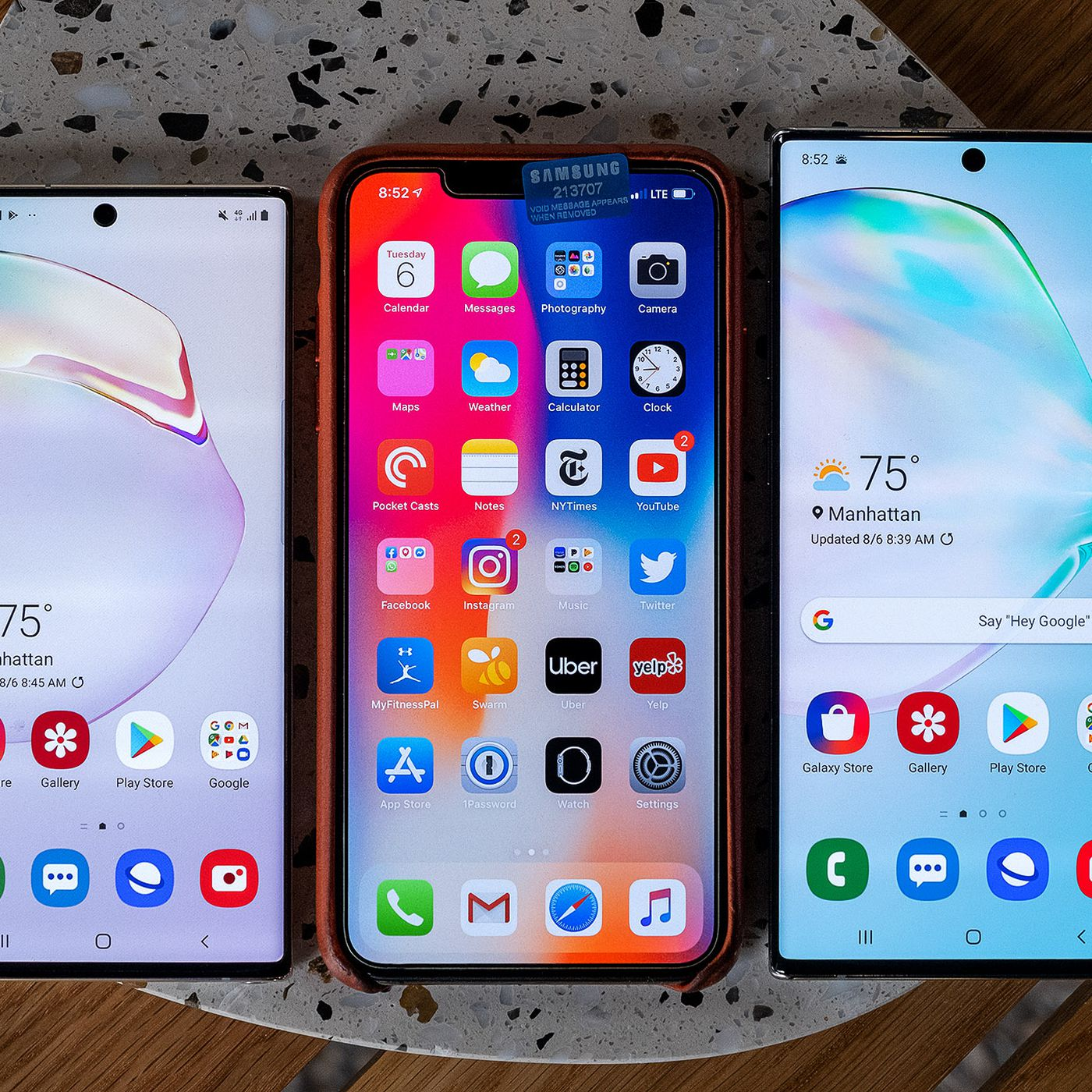 Samsung Galaxy Note 10 vs  Samsung Galaxy S10 vs  iPhone XS
