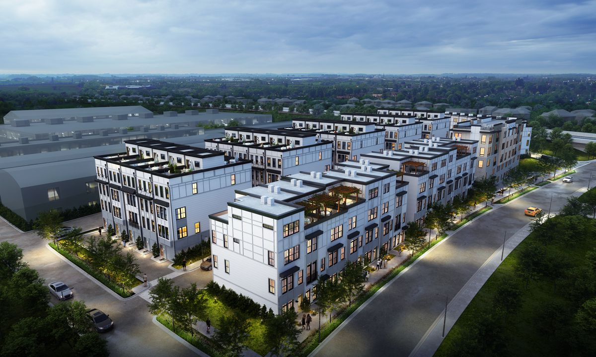 A wide-angle rendering shows how LaFrance Square would fit into the Edgewood landscape.