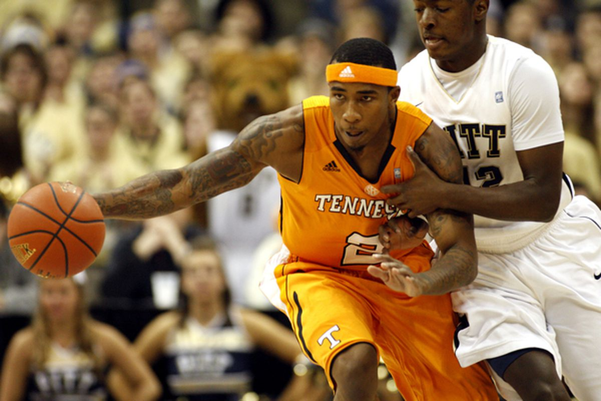 After Saturday's big win over Pitt, Melvin Goins and the Tennessee Volunteers have crashed the top line of my latest bracket. (Photo by Justin K. Aller/Getty Images)