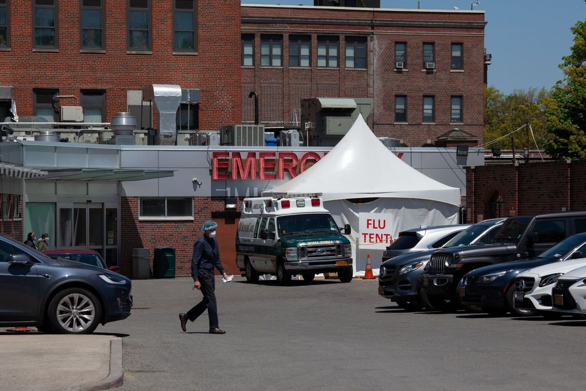 Kingsbrook Jewish Medical Center in Brooklyn set up a tent to treat coronavirus patients, May 13, 2020.