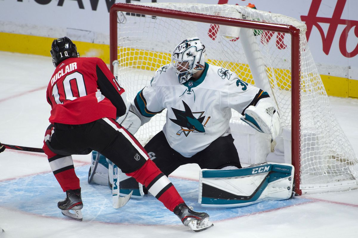 Oct 27, 2019; Ottawa, Ontario, CAN;Ottawa Senators left wing Anthony Duclair (10) scores against San Jose Sharks goalie Martin Jones (31) in the third period at the Canadian Tire Centre.